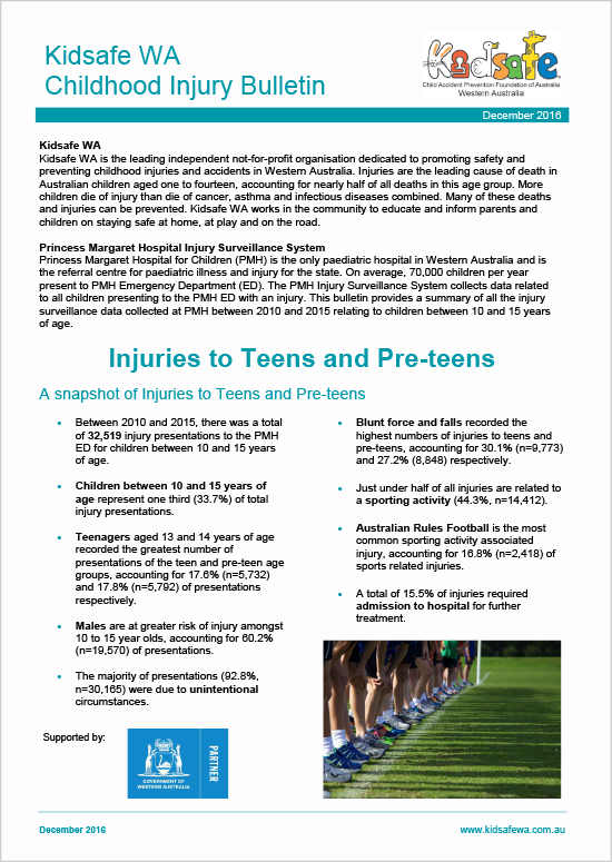 Bulletin - Injuries to Teens and Pre-teens