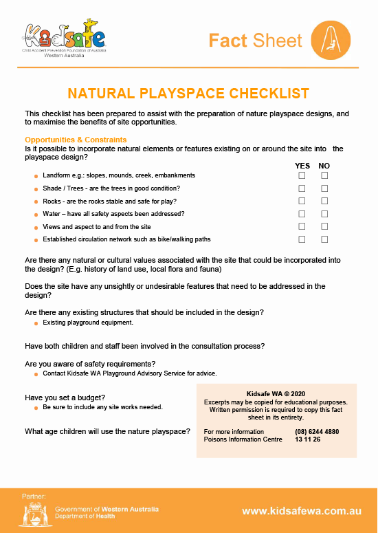 Natural Playspace Checklist