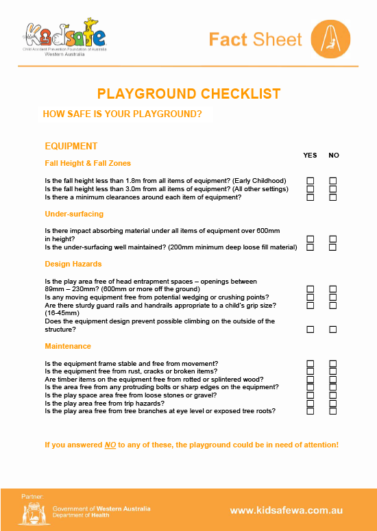 Playground Safety Checklist